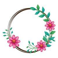 Bastidor circular de flores de color rosa con hojas naturales