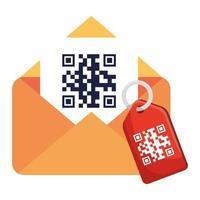 código qr dentro de sobre y diseño de vector de etiqueta