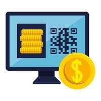 código qr dentro de computadora y diseño vectorial de monedas