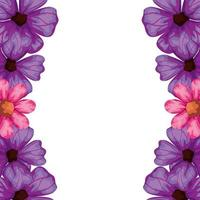 frame of cute flowers pink and purple color vector