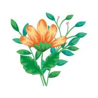 cute flower yellow color with branches and leafs isolated icon