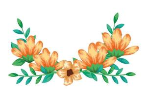 cute flowers yellow color with branches and leafs isolated icon
