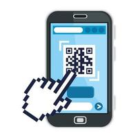 código qr dentro del diseño de vector de mano de smartphone y cursor