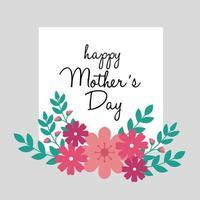 Tarjeta del feliz día de la madre con marco cuadrado y decoración de flores. vector