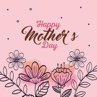 feliz dia de la madre tarjeta con decoracion de flores vector