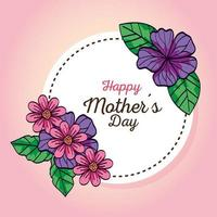 Feliz día de la madre tarjeta y marco circular con decoración de flores. vector