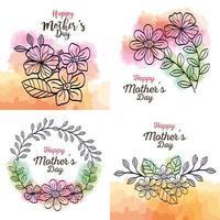 Establecer tarjetas de feliz día de la madre con decoración de flores. vector