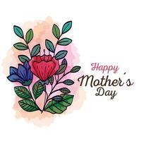 Tarjeta del feliz día de la madre con decoración de flores y hojas. vector