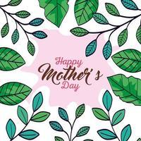 Tarjeta del feliz día de la madre con decoración de marco de hojas vector