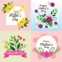 set cards of happy mother day with flowers decoration vector