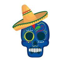 Calavera mexicana aislada con diseño de vector de sombrero