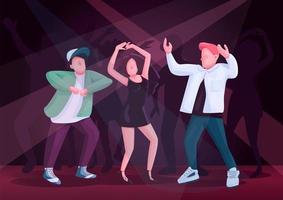 Pareja de hombres y mujeres bailando juntos ilustración de vector de color plano
