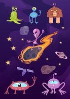 Aliens, fantastic creatures flat cartoon vector illustrations kit