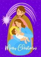 Holy family. Mary carrying the baby Jesus vector