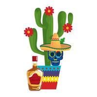Botella de tequila de cactus mexicano y calavera con diseño de vector de sombrero