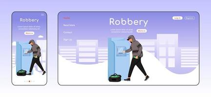 ATM robbery adaptive landing page flat color vector template