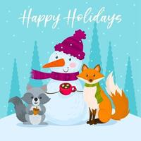 Snow man and winter animals with a cup of hot chocolate vector