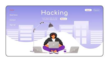 Computer hacking landing page flat color vector template