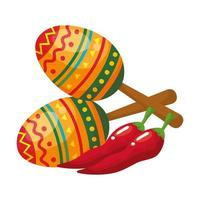 Isolated mexican maracas and chilli vector design