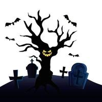 haunted dry tree in cemetery vector