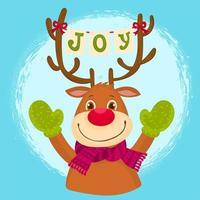 A funny reindeer wearing wool gloves vector