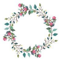 marco circular de flores con ramas y hojas