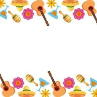 Mexican guitars cocktails maracas and flowers frame vector design