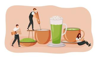 Matcha latte flat concept vector illustration