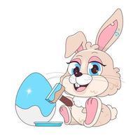 Cute rabbit decorating egg kawaii cartoon vector character