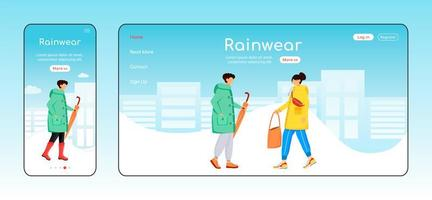 Rainwear landing page flat color vector template