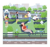 Landscaping flat color vector illustration