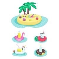 Inflatable drink holders flat color vector objects set