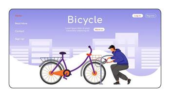 Bicycle landing page flat color vector template