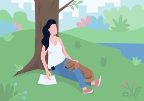 Girl resting in park flat color vector illustration