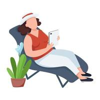 Woman with flowerpot, female on chaise-longue flat color vector faceless character