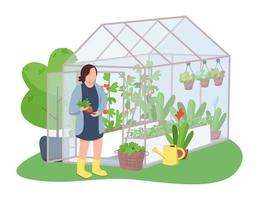 Woman and greenhouse 2D vector web banner, poster
