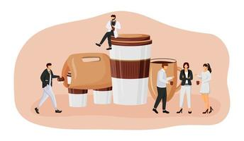 Coffee take out flat concept vector illustration