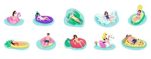 People float on air mattresses flat color vector faceless characters set