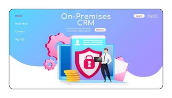 On premises CRM landing page flat color vector template