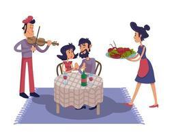 ilustración de dibujos animados plana de cita romántica de lujo