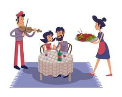 Luxury romantic date flat cartoon illustration