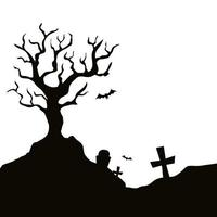 dry tree with cemetery isolated icon vector