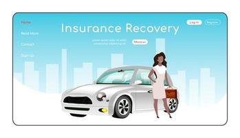 Insurance recovery landing page flat color vector template