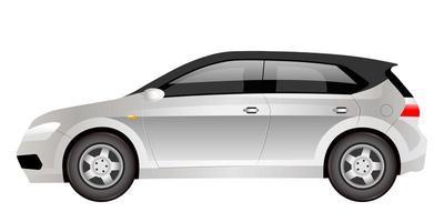 Grey electric hatchback cartoon vector illustration