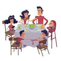 familia juntos teniendo comida plana ilustración vectorial de dibujos animados vector