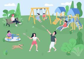Children playground flat color vector illustration