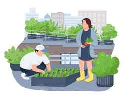 Seedlings growing 2D vector web banner, poster