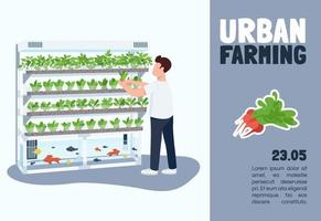 Urban farming banner flat vector template