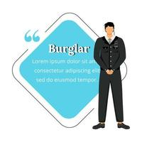 Security guard flat color vector character quote