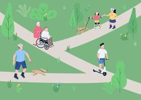 Weekend relax in park flat color vector illustration